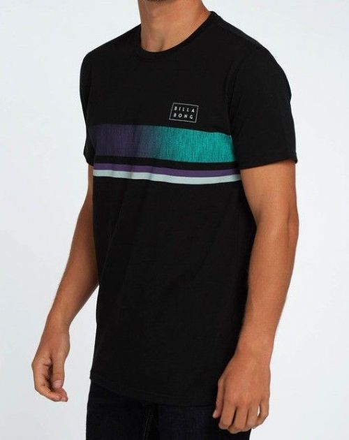 fbc80b637c482 BILLABONG MENS T SHIRT.TEAM STRIPE BLACK SHORT SLEEVED COTTON TOP TEE 8S  S18 19